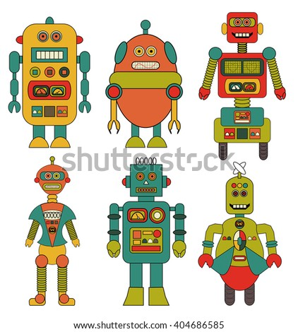 Set of Retro Robots Vectors Cartoons