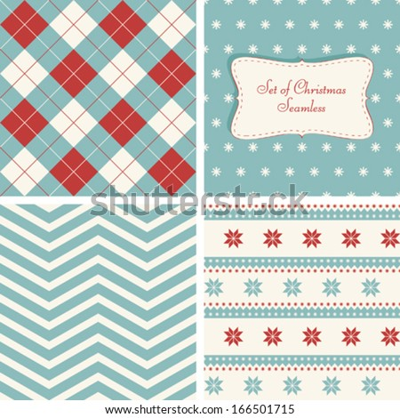 Set of retro seamless for Christmas  - stock vector