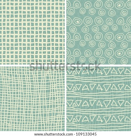 set of 4 retro seamless patterns in 3 colours - stock vector