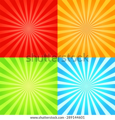 Set of retro shiny starburst backgrounds. Collection of sunburst abstract textures.Vector illustration. - stock vector