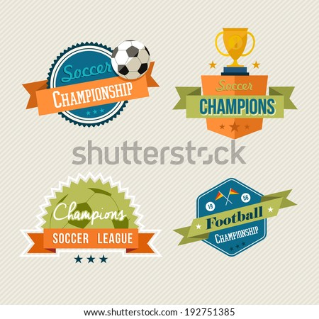 Set of retro soccer champions labels. EPS10 vector organized in layers for easy editing. - stock vector
