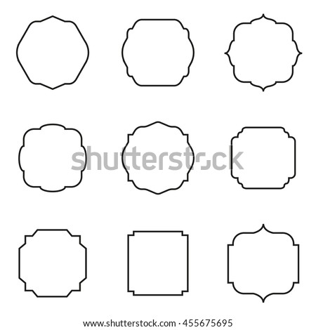 set of retro square frame vector illustration