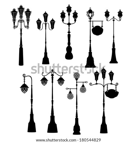 Set of retro street lanterns silhouettes  - stock vector