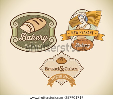 Set of retro-styled bakery labels including images of country woman and rustic bread. Editable vector illustration. - stock vector
