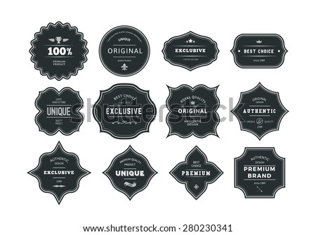 Set of Retro Styled Black Labels with Frames. Vector Classic Isolated Decorative Tags.  - stock vector