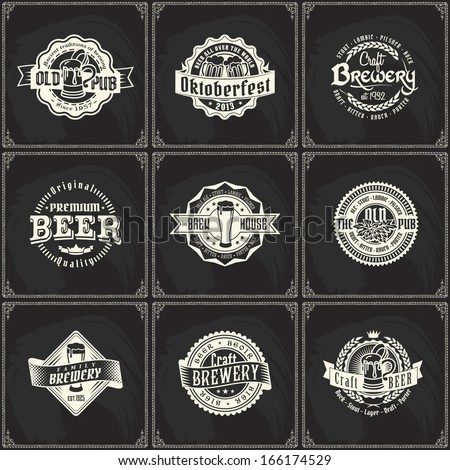 Set of retro styled chalk lettering labels of beer or brewery pub on a blackboard. Good as a template of advertisement - stock vector