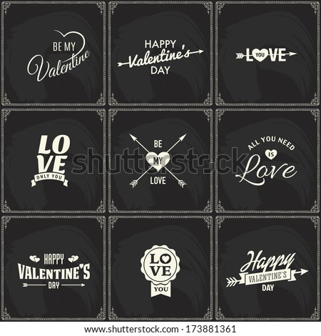Set of retro styled chalk lettering labels of love valentine's day or wedding hearts on a blackboard. Good as a template of greeting card