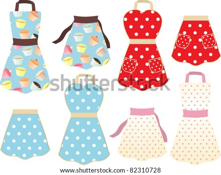 set of retro styled cooking aprons with cupcake and polka dot designs - stock vector