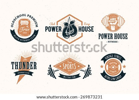 Set of retro styled fitness emblems. Vintage gym logo templates. Vector illustrations. - stock vector