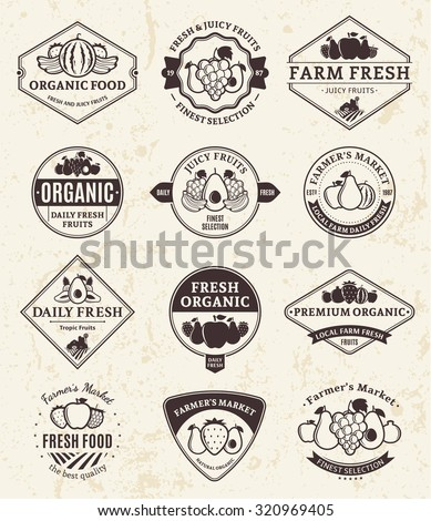 Set of  retro styled fruit logo templates. Fruit labels with sample text. Fruits icons for groceries, agriculture stores, packaging and advertising. Vector logotype design. - stock vector