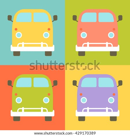 Set of retro styled little buses presented in a different colors. Fully vector illustration, very easy to edit