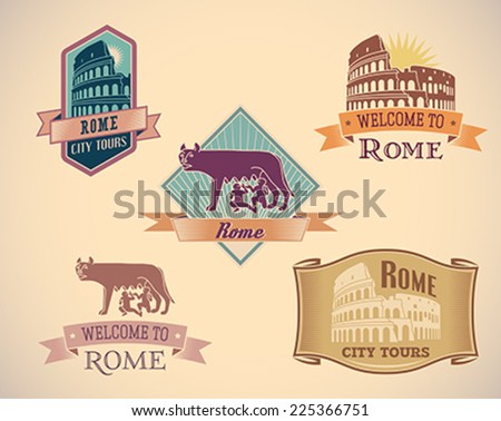 Set of retro-styled Rome city tour labels. Editable vector illustration. - stock vector