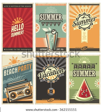 Set of retro summer holiday posters. Travel and vacation vintage signs collection. Sun summer and the sea promotional banners. Beach party vector design concept. Motivational summer ads and messages. - stock vector