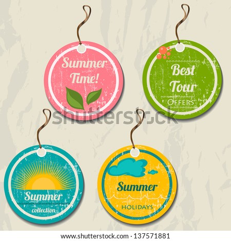 Set of 4 retro summer tags. Vector illustration EPS8
