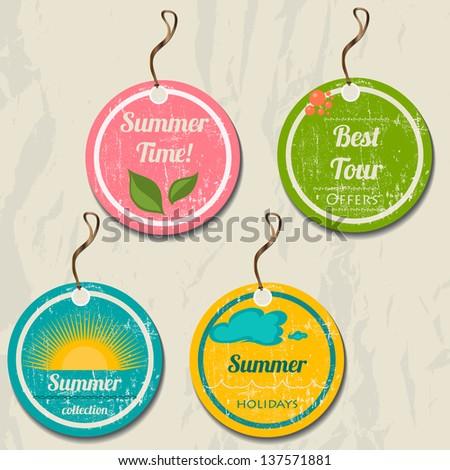 Set of 4 retro summer tags. Vector illustration EPS8 - stock vector