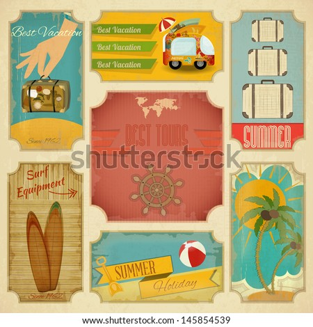 Set of Retro Summer Vacation Labels in Vintage Style. Vector Illustration. - stock vector