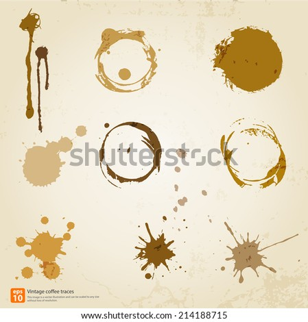 Set of retro traces cup draw pour coffee splashes and spot print. vintage and old style - stock vector