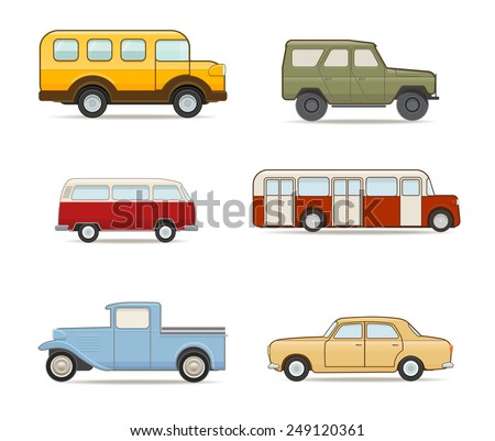 Set of Retro Transport  - stock vector