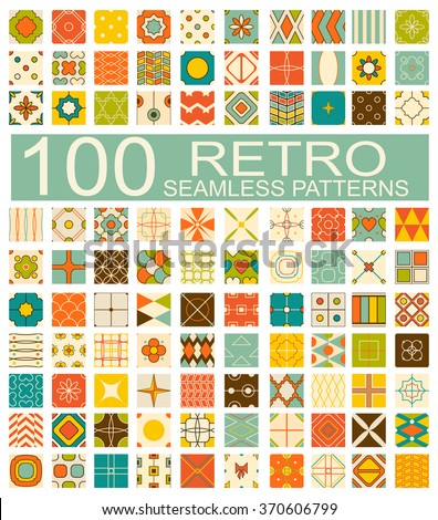 Set of 100 retro vector geometric seamless patterns (tiling) of blue, red, ivory, pink and green color. Endless texture can be used for pattern fills, web page background, surface and textile textures - stock vector