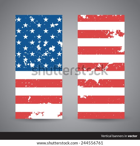 Set of retro vertical Independence Day banners with American flag - stock vector