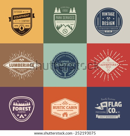 Set of retro vintage badges and label logo graphics - stock vector