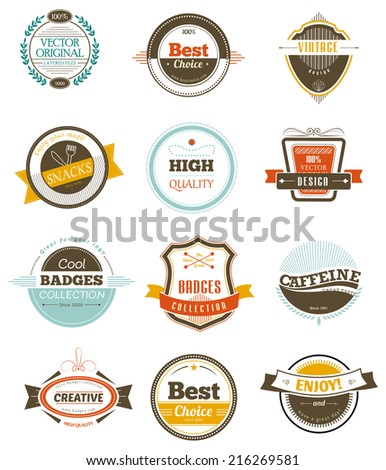 Set of retro vintage badges and labels. - stock vector