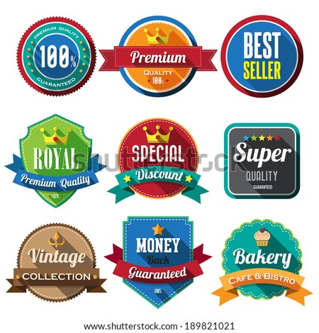Set of retro vintage badges and labels 05. Flat design with long shadow .eps10  - stock vector