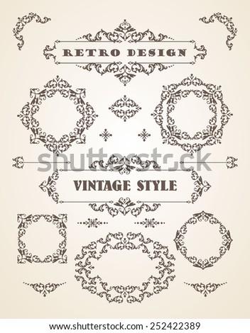 Set of Retro Vintage Badges, Frames, Labels and Borders. Design elements.  - stock vector