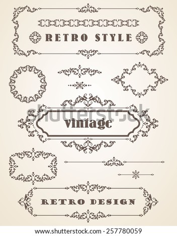 Set of Retro Vintage Badges, Frames, Labels and Borders. Design elements.  - stock vector