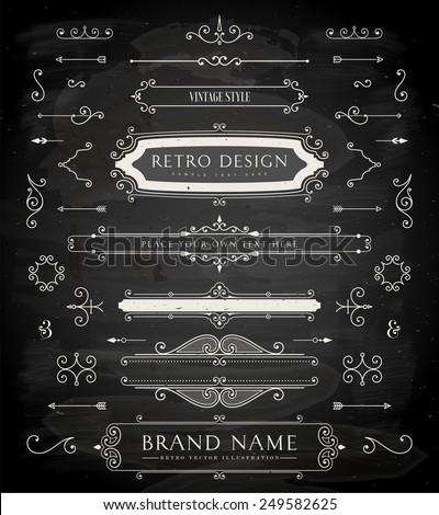 Set of Retro Vintage Badges, Frames, Labels and Borders for Logo or Emblem Design. Chalk Board Background. eps10 - stock vector