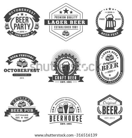 Set of Retro Vintage Beer Badges, Labels, Logos. Black and White Vector Illustration - stock vector