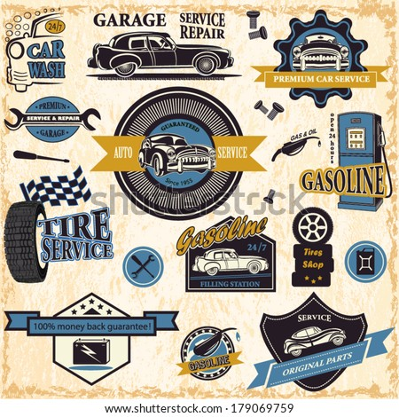 Set of retro vintage car labels - stock vector