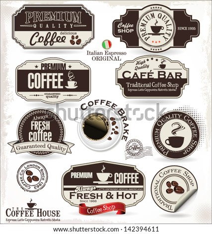 Set of Retro Vintage coffee labels