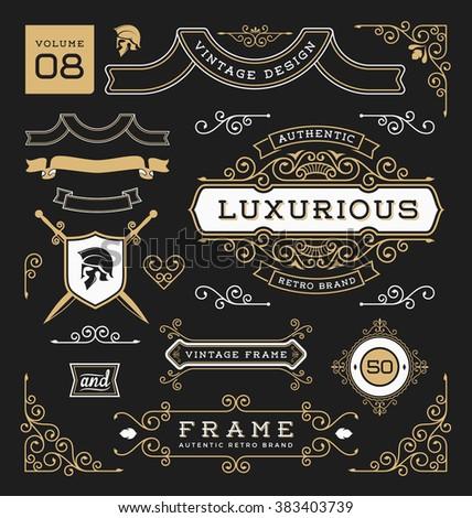 Set of retro vintage graphic design elements. Sign, frame labels, ribbons, logos symbols, crowns, corner, flourishes line and ornaments. Vector illustration - stock vector