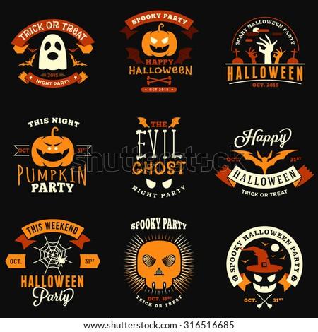 Set of Retro Vintage Halloween Badges, Labels. Halloween Night Party. Vector Illustration - stock vector