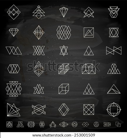 Set of Retro Vintage Hipster Insignias and Logotypes. Business Signs, Logos, Identity Elements, Labels, Badges, Frames, Borders and Other Design Elements. Chalkboard Style. - stock vector