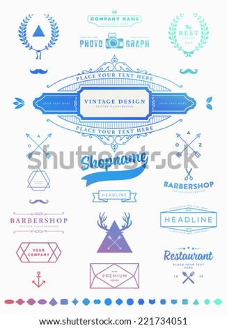 Set of Retro Vintage Insignias and Logotypes. Business Signs, Logos, Identity Elements, Labels, Badges, Frames, Borders and Other Design Elements. Instagram Color Style. Modern Colors Version. - stock vector