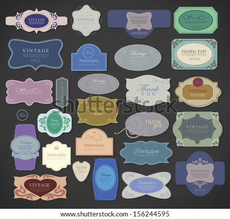 Set of retro vintage labels/ Vector illustration.