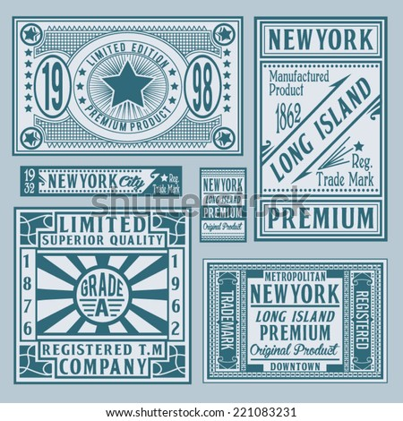set of retro vintage , labels, vector, new york city - stock vector