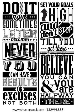 Set of Retro Vintage Motivational Quotes with Calligraphic and Typographic Elements