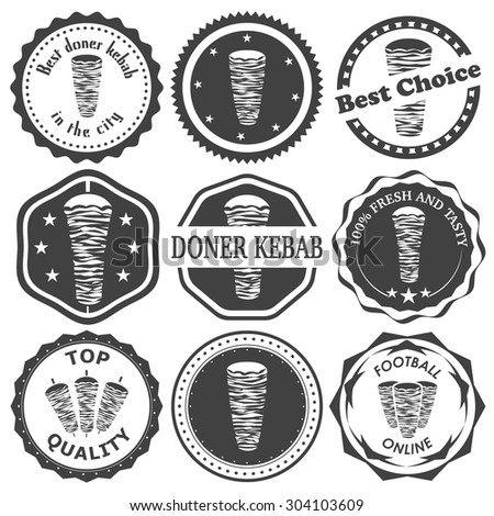 Set of retro vintage stamp for turkish doner kebab. Vector illustration. - stock vector