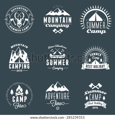 Set of Retro Vintage Summer Camping Badges. Mountain Adventures and Outdoor Activities - stock vector