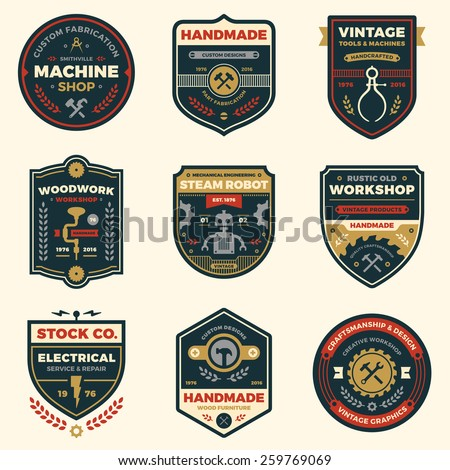 Set of retro vintage workshop badges and logo label graphics - stock vector