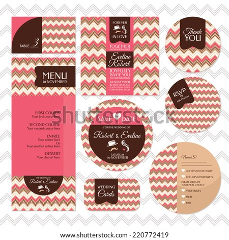 Set of retro wedding cards vector illustration - stock vector