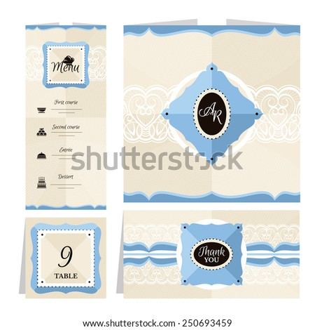 Set of retro wedding cards vector illustration - stock vector