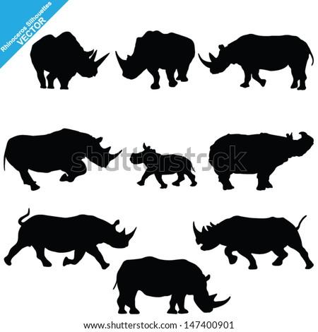 Set of Rhinoceros Silhouettes. Vector Illustration - stock vector