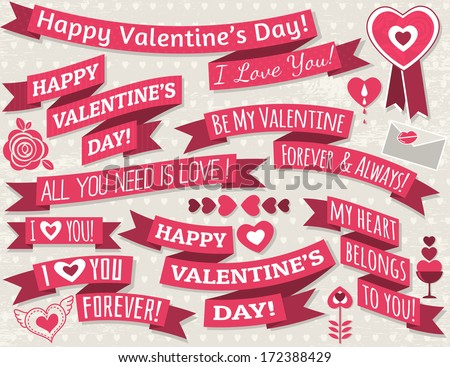 set of ribbon valentine's design, vector illustration - stock vector