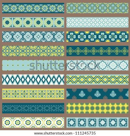 Set of Ribbons and Borders - for design and scrapbook - in vector - stock vector