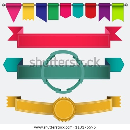 Set of ribbons and flags, illustration for your design, vector - stock vector
