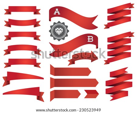 Set of Ribbons and Labels in Vector Retro and Vintage for All Purposes - stock vector